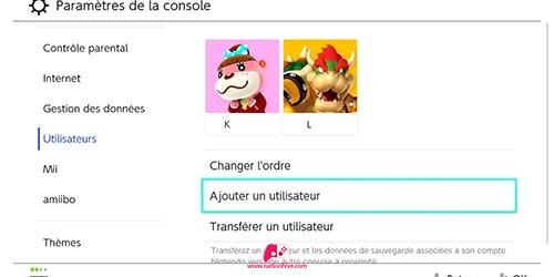 Liste des utilisateurs de la console