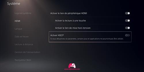 Option HDCP sur la PS5