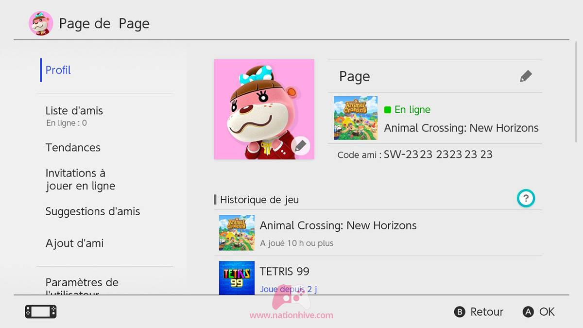 Trouver son code ami sur Nintendo Switch