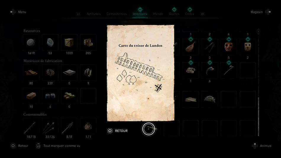 Emplacement des cartes au trésor