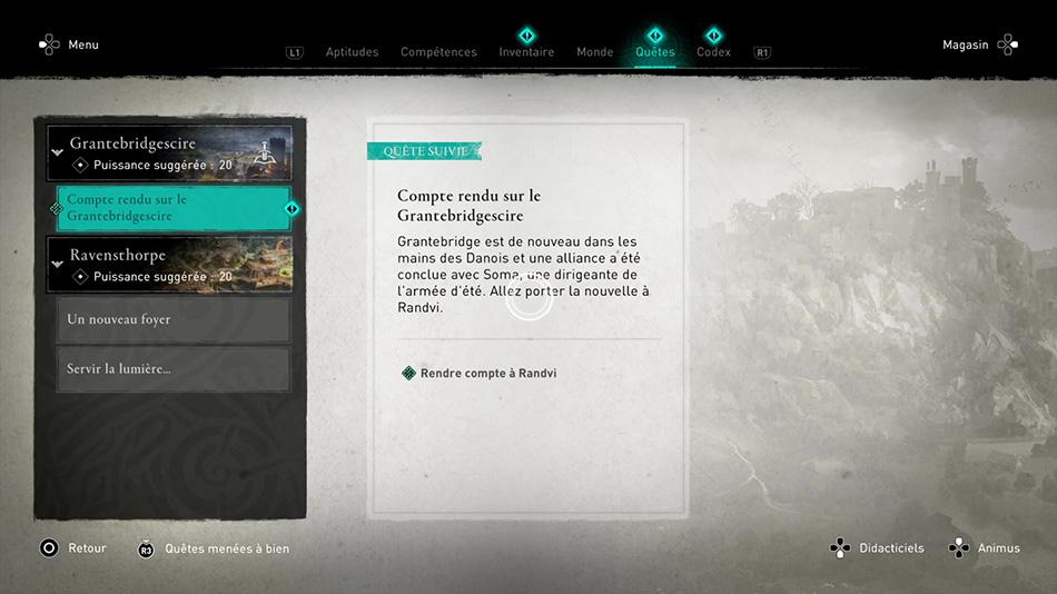 Soluce de la quête Compte rendu sur le Grantebridgescire de Assassin's Creed Valhalla