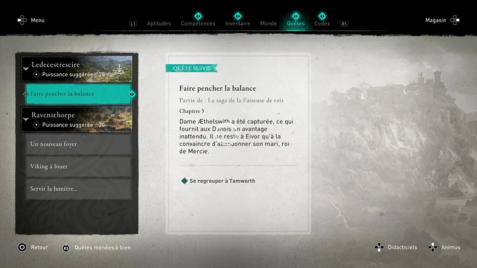 Soluce de la quete Faire pencher la balance de Assassin's Creed Valhalla