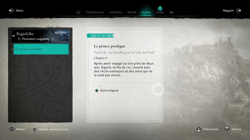 Soluce de la quête Le prince prodigue