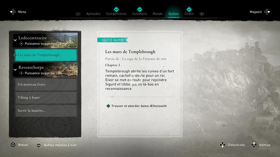 Soluce de la quête Les murs de Templebrough de Assassin's Creed Valhalla