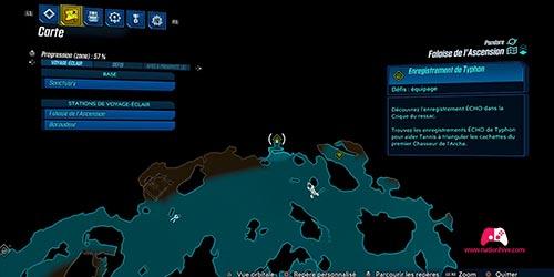 Carte du premier enregistrement Typhon
