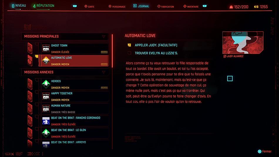 Soluce de la mission Automatic Love de Cyberpunk 2077