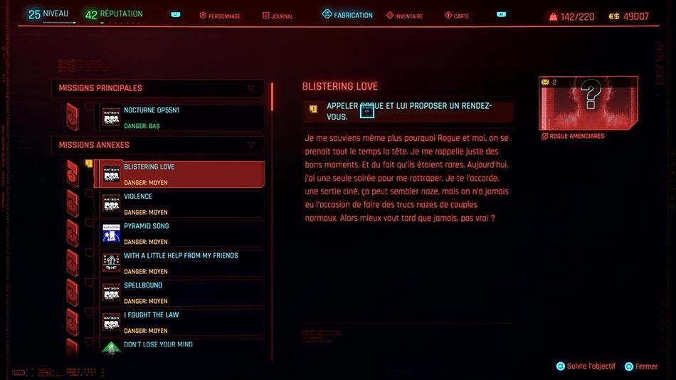 Soluce de la mission Blistering Love de Cyberpunk 2077