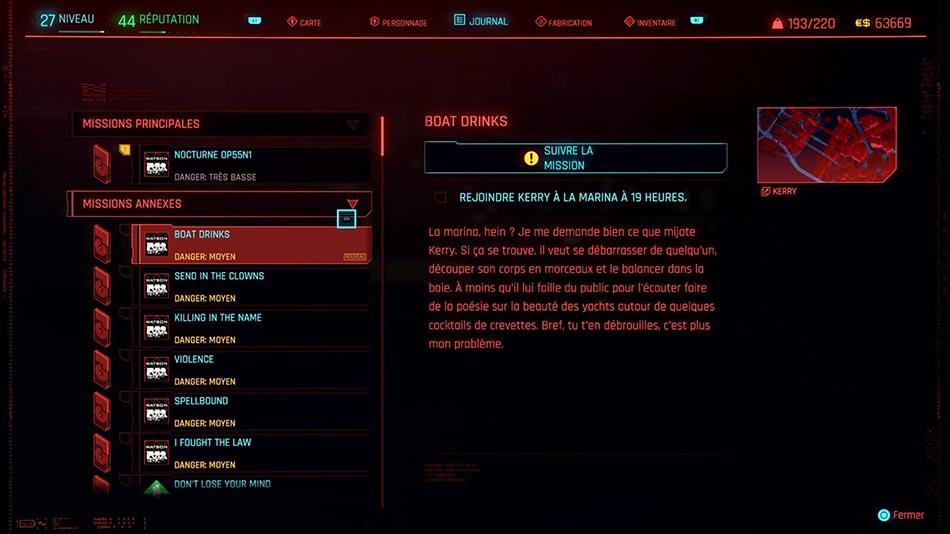 Soluce de la mission Boat Drinks de Cyberpunk 2077