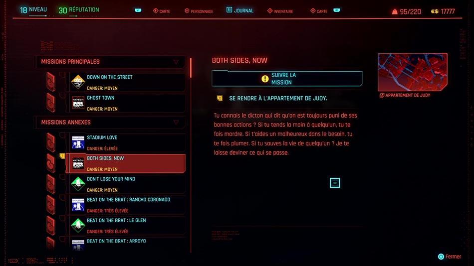 Soluce de la mission Both Sides, Now de Cyberpunk 2077