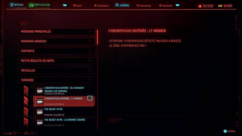 Soluce de la mission Cyberpsycho : LT Mower de Cyberpunk 2077