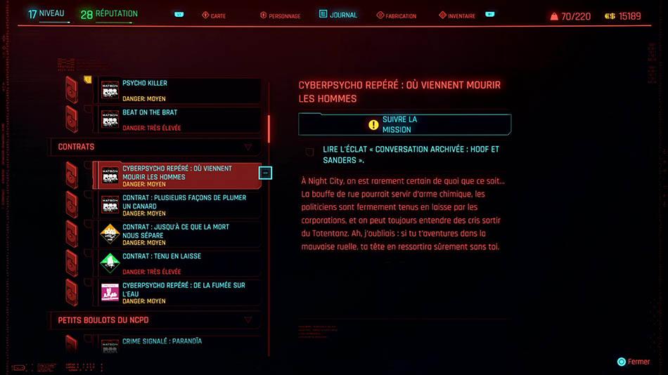 Soluce de la mission Cyberpsycho : Où viennent mourir les hommes de Cyberpunk 2077