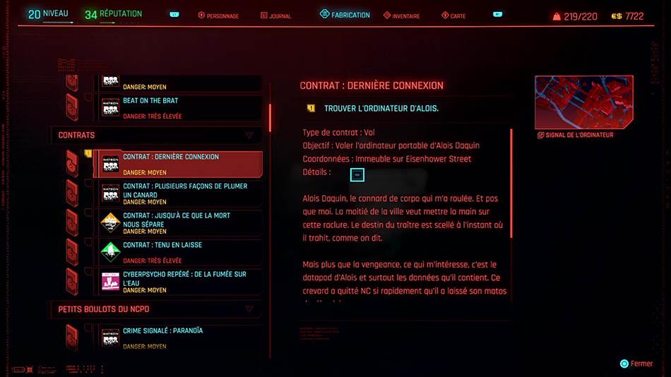 Soluce du contrat Dernière connexion de Cyberpunk 2077