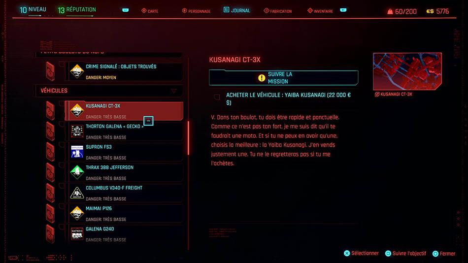 Emplacement de tous les véhicules dans Cyberpunk 2077