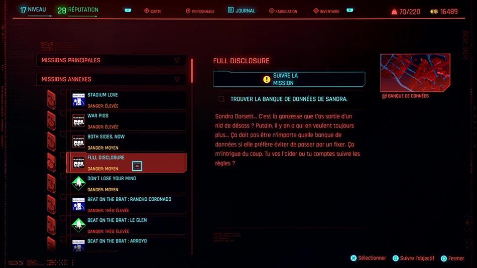 Soluce de la mission Full Disclosure de Cyberpunk 2077
