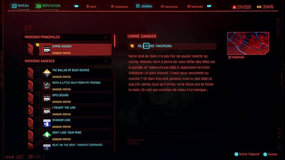 Soluce de la mission Gimme danger de Cyberpunk 2077