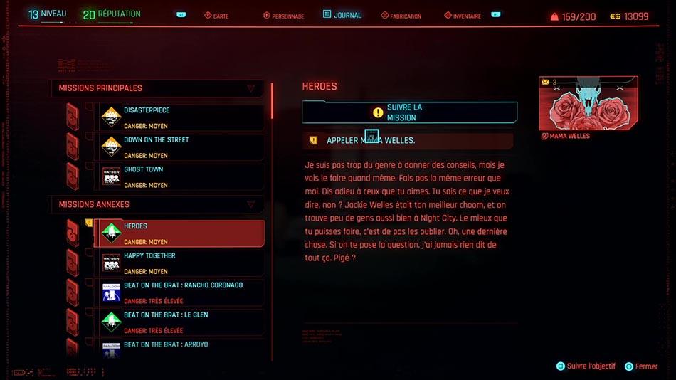 Soluce de la mission Heroes de Cyberpunk 2077