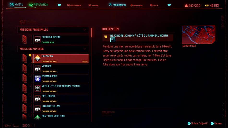 Soluce de la mission Holdin' On de Cyberpunk 2077