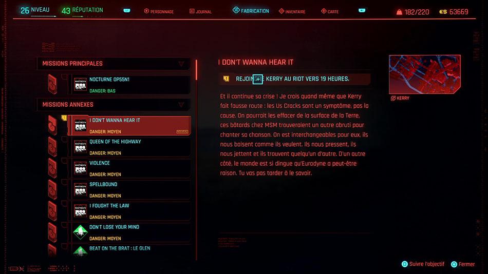 Soluce de la mission I Don't Wanna Hear It de Cyberpunk 2077