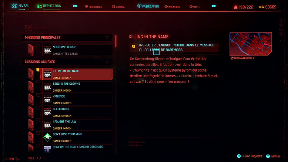 Soluce de la mission Killing in the Name de Cyberpunk 2077
