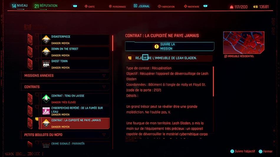 Soluce du contrat La cupidité ne paye jamais de Cyberpunk 2077