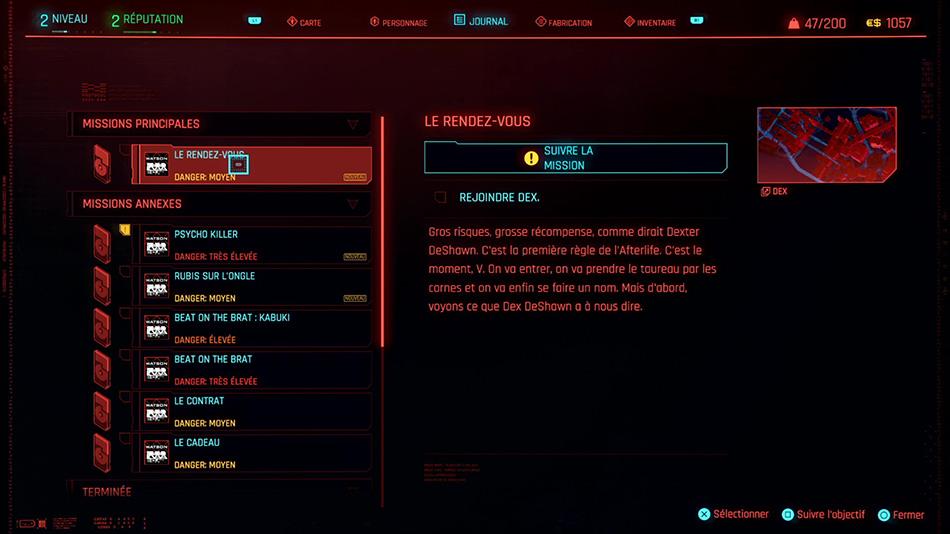 Soluce de la mission Le rendez-vous de Cyberpunk 2077