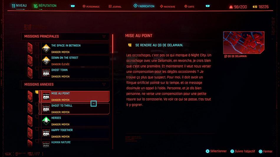Soluce de la mission Mise au point de Cyberpunk 2077