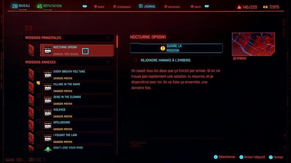 Soluce de la mission Nocturne OP55N1 de Cyberpunk 2077