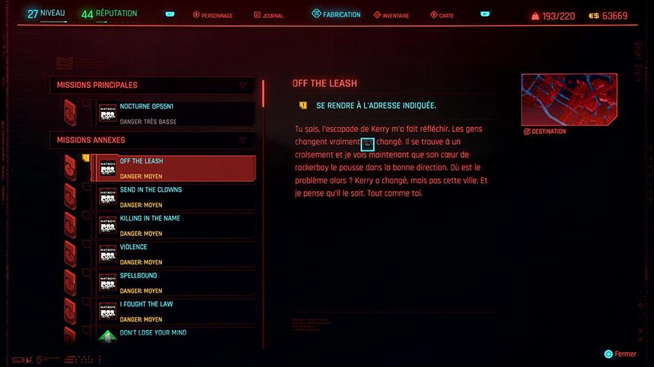 Soluce de la mission Off the Leash de Cyberpunk 2077