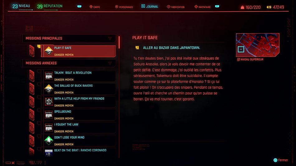 Soluce de la mission Play It Safe de Cyberpunk 2077