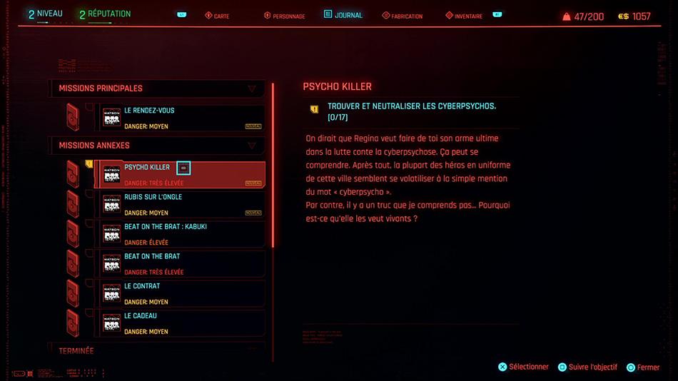 Guid et soluce de la mission Psycho Killer de Cyberpunk 2077
