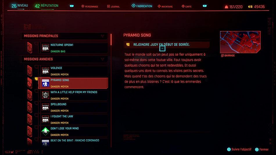 Soluce de la mission Pyramid song de Cyberpunk 2077