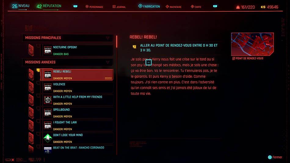 Soluce de la mission Rebel! Rebel! de Cyberpunk 2077