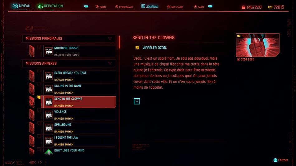 Soluce de la mission Send in the Clowns de Cyberpunk 2077