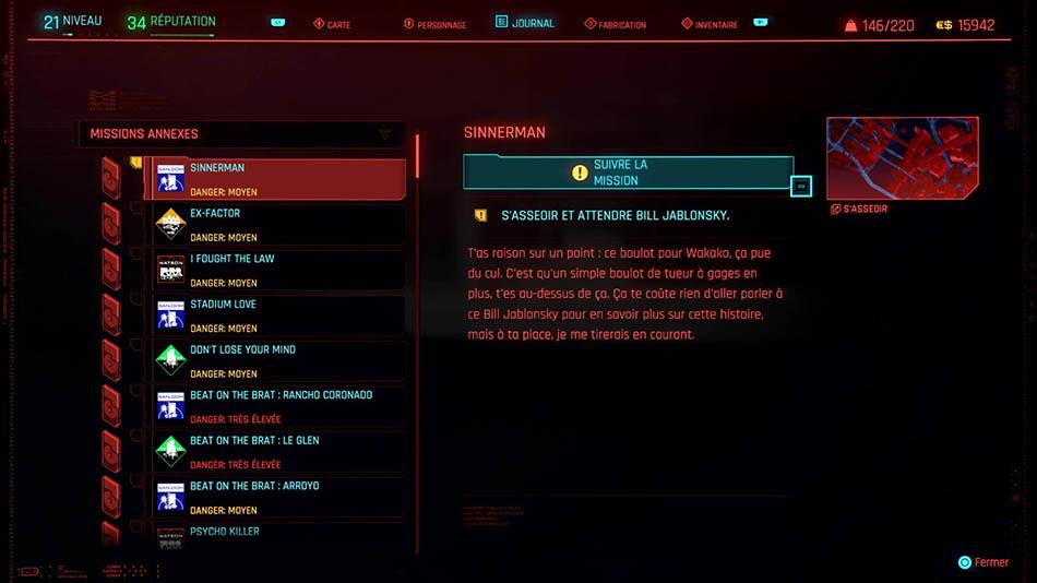 Soluce de la mission Sinnerman de Cyberpunk 2077