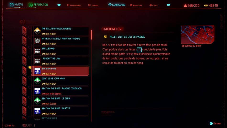 Soluce de la mission Stadium Love de Cyberpunk 2077