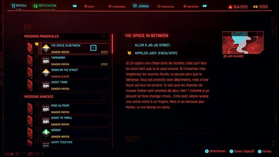 Soluce de la mission The Space in Between de Cyberpunk 2077