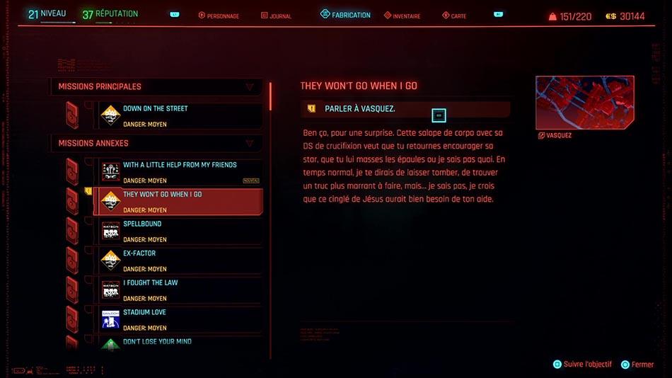 Soluce de la mission They Won't Go When I Go de Cyberpunk 2077