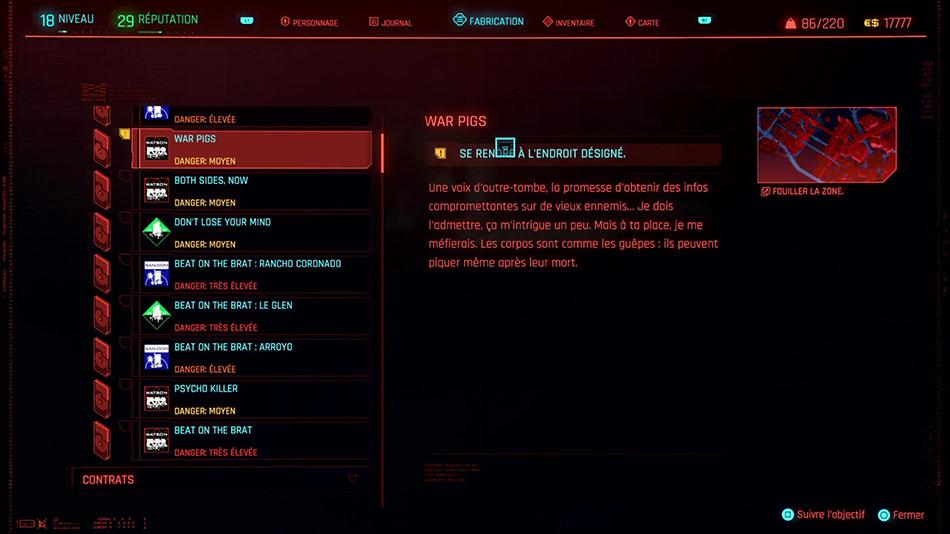 Soluce de la mission War Pigs de Cyberpunk 2077