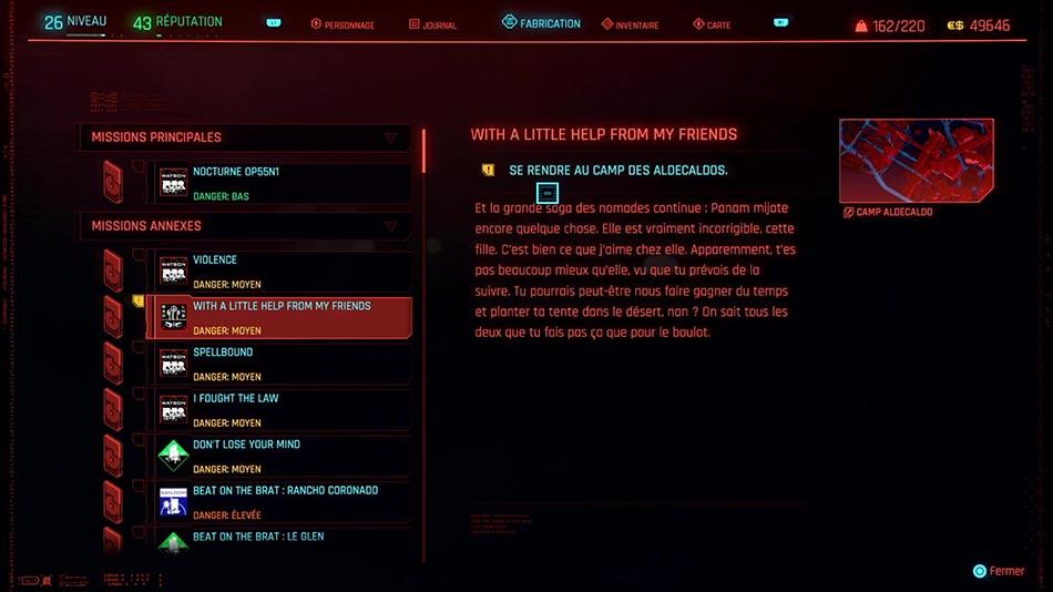 Soluce de la mission With a Little Help From my Friends de Cyberpunk 2077