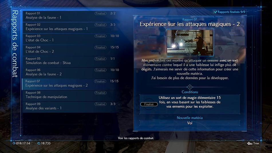 Rapport 07 : Expérience sur les attaques magiques - 2