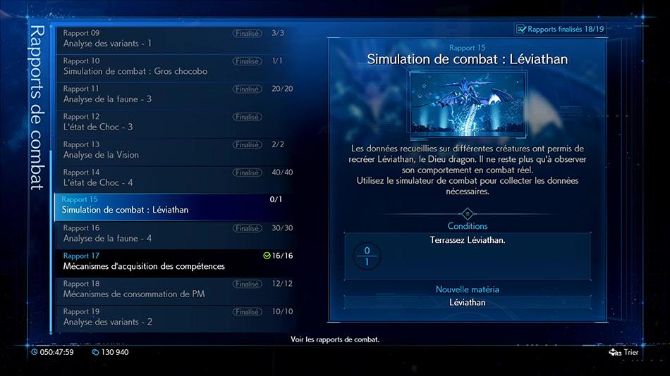 Rapport 15 : Simulation de combat Leviathan