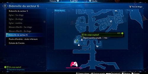 Carte de la quête secondaire Un corps explosif
