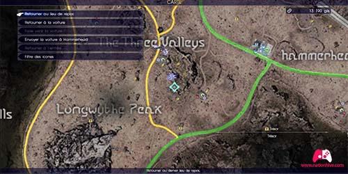 Carte de la quête secondaire Randonneur en détresse