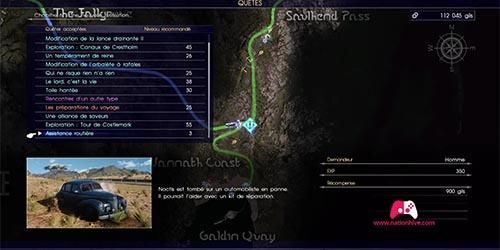 Carte de la quête secondaire Assistance routière
