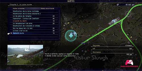 Carte de la quête secondaire Curiosité punie