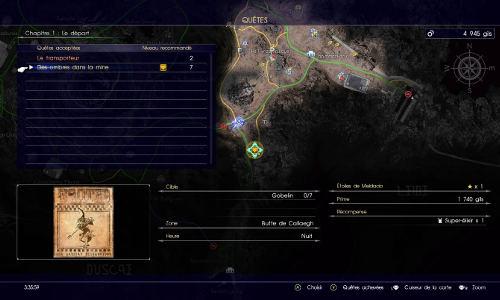 Carte du contrat de chasse des ombres dans la mine
