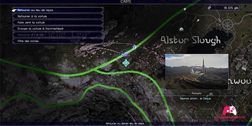 Carte de la zone  à photographier