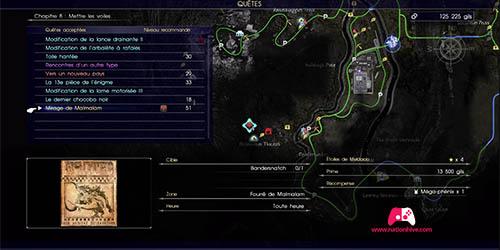 Carte du contrat de chasse Mirage de Malmalam