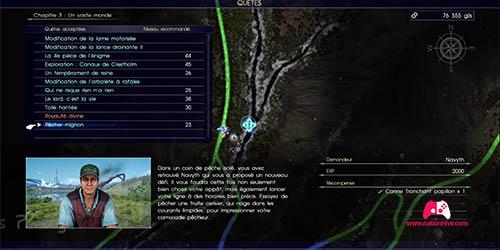 Carte de la quête secondaire Pêcher mignon