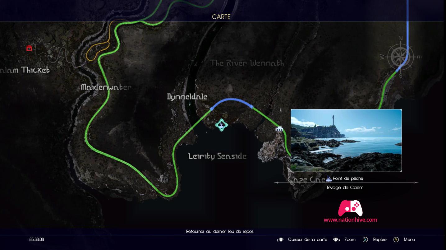 Point de pêche du rivage de Caem